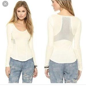 Free People Jane Longsleeve mesh top ivory L